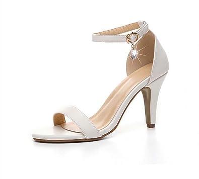 Sandales pour Femmes Fines avec des Mots à Talons Hauts avec Transparent Sauvage 8cm (Couleur : Blanc, Taille : 39)
