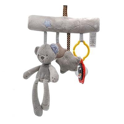 MAJINCGJ Newborn Baby Toy Crib Bell Music Pendant Toy Cloth Newborn Stroller Rattle Safety Seat Comfort Plush Doll Bear : Baby