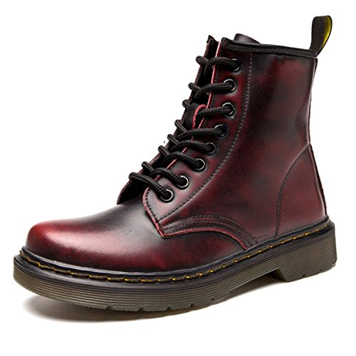 Fourrure 1 Cuir Lacets Ukstore Chaudes classiques Femme homme Chaussures Plates bottines Botte Hiver Bottes rouge Fourrées boots Martin Impermeables Doublure TqHYT7