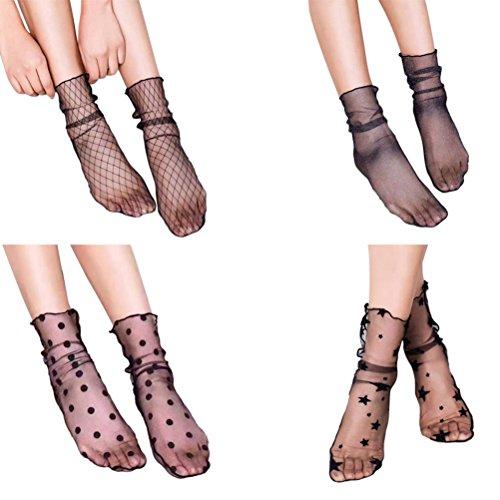 Sheer Ankle Socks (BESTOYARD 4 Pairs Women Ankle High Socks Sheer Slouch Socks Transparent Lace Socks)
