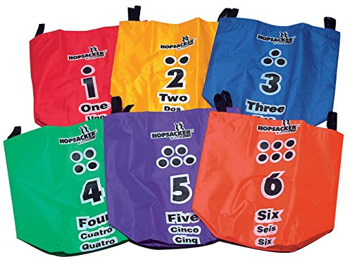 Sportime Numbered Hopsacker for Sack Racing, Large, Assorted Colors (Set of 6)