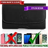 Premium Quality Horizontal Leather Carrying Case Cover Pouch Side Holster with Clip and Belt Loops for Apple iPhone 6-Amazon Fire-HTC One X-Endeavor-One XL-Kyocera DuraForce-LG G3 Vigor-Nokia Lumi
