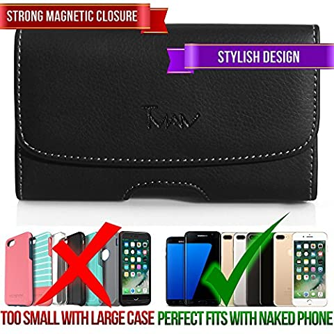 #1 Leather Horizontal Belt Pouch for LG Optimus F3Q D520 Lucid Cayman Eclypse C800G Doubleplay Flip II G2 Joy H220 myTouch OPTIMUS G2X 4G Optimus 7Q, Original Premium Carrying Belt Clip Wallet (Phone Case For Lg Optimus F3q)