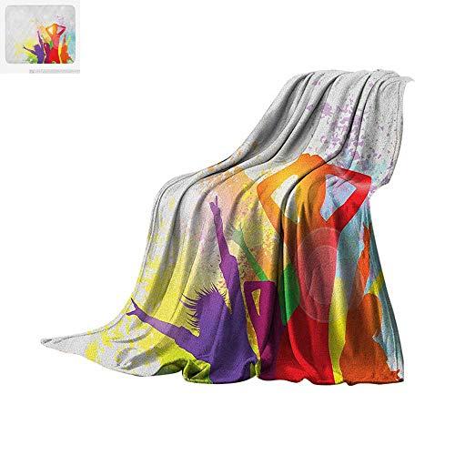 (Luoiaax Girls Throw Blanket Party Theme Splashing Dancing Girls Abstract Illustration Artistic Design Pattern Print Artwork Image 50