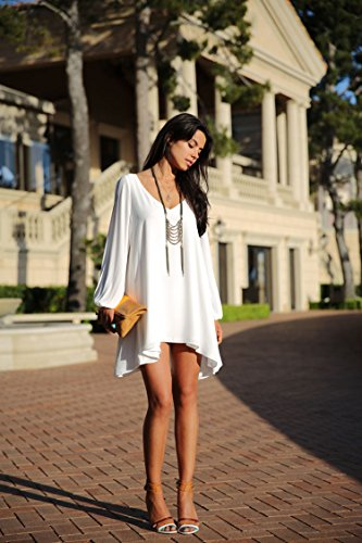 Womens Fashion Sexy Long Sleeve Plus Size Mini Round Neck Loosen Chiffon Shirt Party Dresses White Xl
