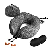 ZAMAT Travel Pillow, Comfortable Memory Foam Neck Pillow, Adjustable Camping Car Train Flight Airplane Pillow, Full Chin Head Support, Breathable Case Cover, Travel Kit with Sleep Mask, 2 Earplugs
