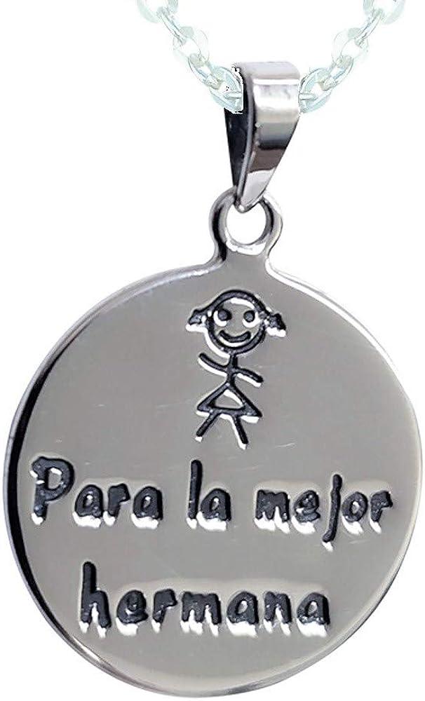 Sicuore Colgante Collar Mejor Hermana para Mujer Hombre - Plata De Ley 925 Incluye Cadena De Plata De 45cm Y Estuche para Regalo