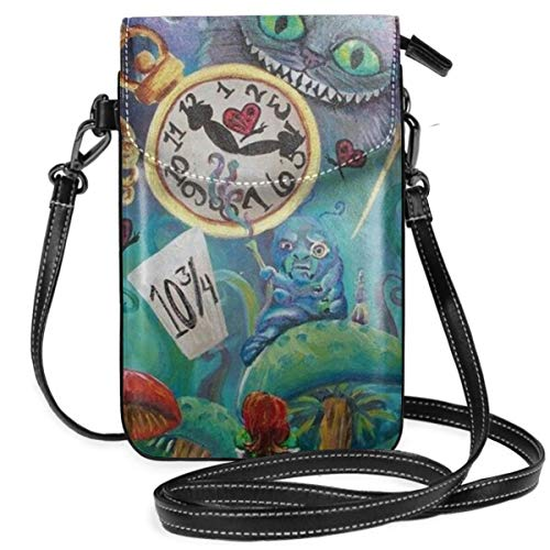 Lbbb Alice in Wonderland PU Leather Small Cross Body Bag-Cell Phone Purse Smartphone Wallet with Shoulder Strap Handbag for Women