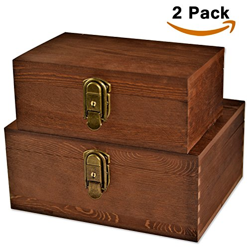 [Mustard 2 Sets] Wood Storage Box Kit Wooden Boxes Card Document Archival Jewelry Trunks Case Cabinet Container with Lock and Key Western Rustic for Keepsake Silverware Organizer Album Collection (File Boxes Hinged)