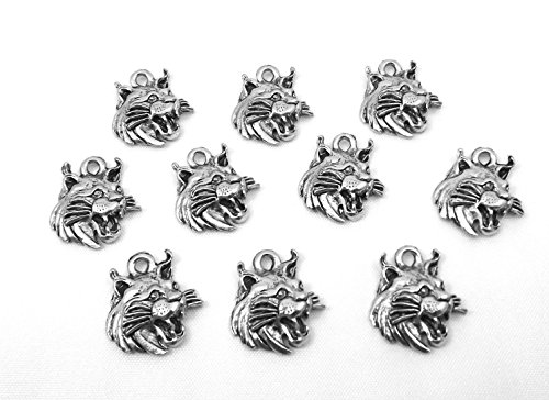 Set of Ten (10) Pewter Wild Cat Head Charms