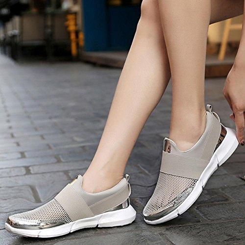 Transpirables Mujer Respirable Zapatos Deportes Gris Mocasines QinMM Merceditas Zapatillas de Sandalias para Verano de Malla BFqnw1UR8