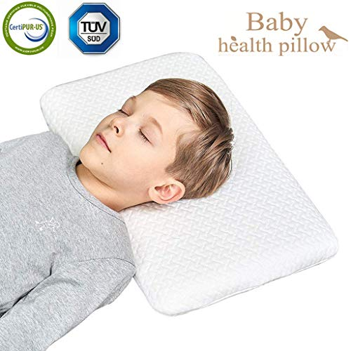 Kids Toddler Pillow for Sleeping Breathable Bed Pillow Hypoallergenic with Washable Zipper White Tencel Pillowcase for Child Under 8 Years Old 20X13 ()
