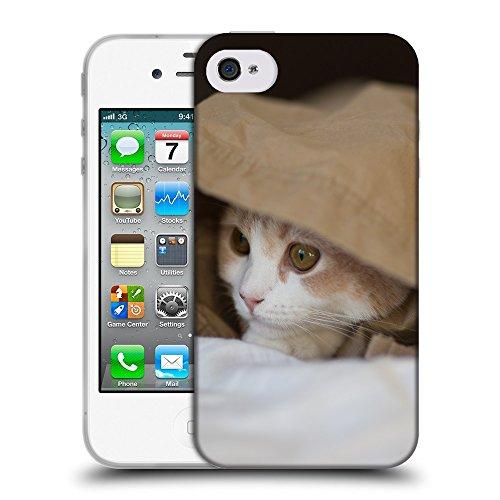 Just Phone Cases Coque de Protection TPU Silicone Case pour // V00004271 Chaton cache et Observe // Apple iPhone 4 4S 4G