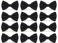 12pcs Tiny Lattice Men's Pre-tied Adjustable Formal Solid Tuxedo Bow Tie by Avant Men