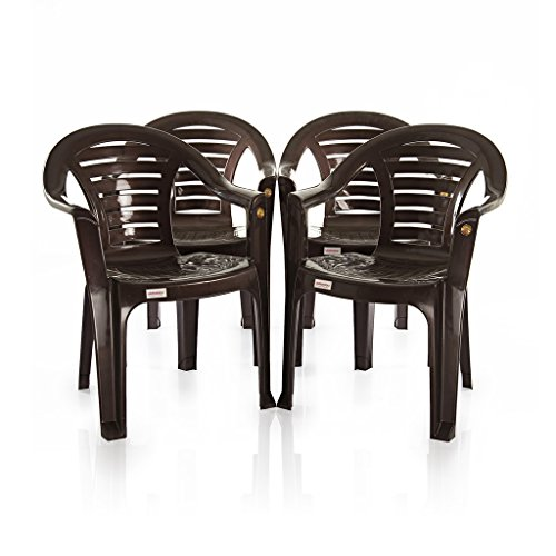 Varmora Medium Back Chair Set of 4 (Curv – Brown)