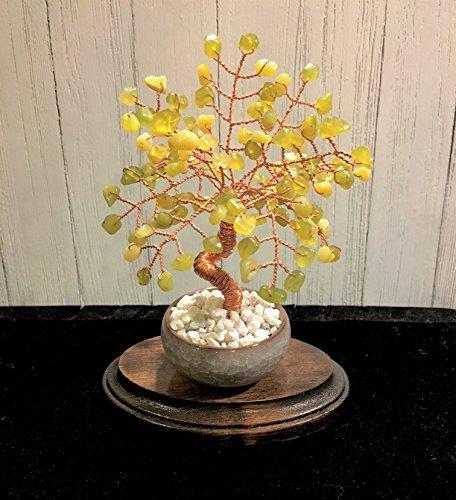 Jade Crystal Gemstone Wire Bonsai Tree of Life,Feng Shui Wire Stone Healing Tree Sculpture,Peridot Jade Money Tree,Desk Office Decor ()