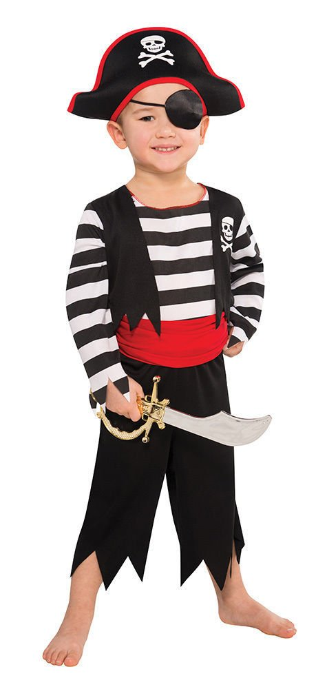 Disfraz de Pirata para niños - Negro, Rojo, Blanco - Talla L (8-11 ...