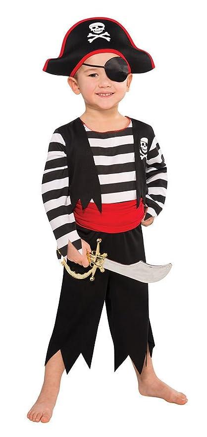 Disfraz de Pirata para niños – Negro, Rojo, Blanco – Talla L (8-11 años)
