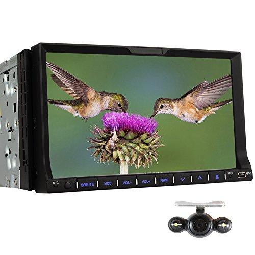 PUMPKIN 7 Zoll 2 Din Autoradio Moniceiver Radio Tuner mit Touchscreen Unterstützt GPS Navi DVD iPod Bluetooth (Autoradio)