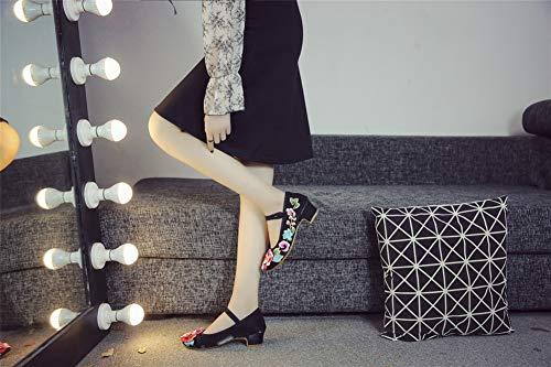 Eleganti Cinesi Icegrey Jane 002 Tradizionali nero Vntage Scarpe Basse Mary Tacco Donna xUxIqaEf