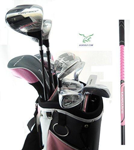 Orlimar Ladies Aspect Pink Left Hand Petite Length All Graphite Golf Club Set w/Ladies Cart Bag+Driver+3 Wd+5 & 6 Hybrids+7-9 Irons+PW+SW+ Putter; Fast Shipping from AGXGOLF by AGXGOLF