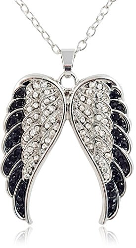 et Black and Clear Crystal Guardian Angel Wings/Wing Silver Tone Fashion Necklace, Biker Jewelry Gift for Women ()