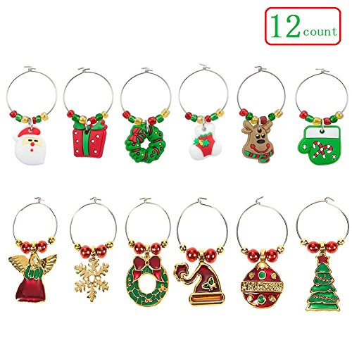 Wine Glass Charms - 12 Pack Christmas Themed Wine Glass Tags Rings - Drink Markers with Holiday Decorations by PalkSky