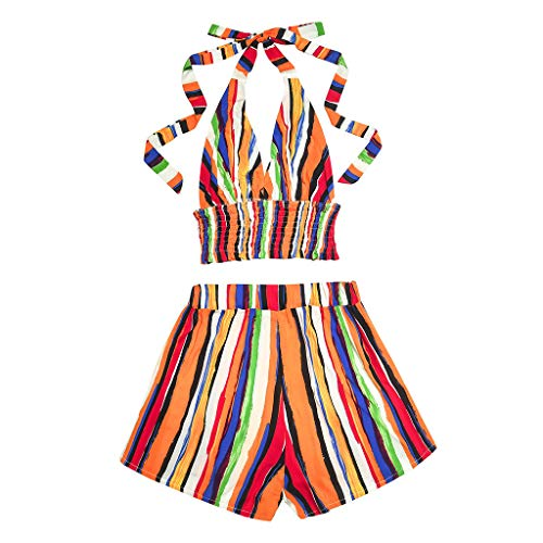 Infant Two Piece Cheerleader Outfit - LAODIA Sexy Women Bohemia Striped Print Blouse Shorts Beach Two-Piece Outfit Summer Fashion 2019 (Multicolor, M)