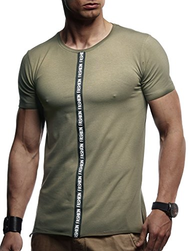 Leif Nelson Herren Sommer T-Shirt Rundhals-Ausschnitt Slim Fit Baumwolle-Anteil Moderner Männer T-Shirt Crew Neck Hoodie-Sweatshirt Kurzarm lang LN1125N