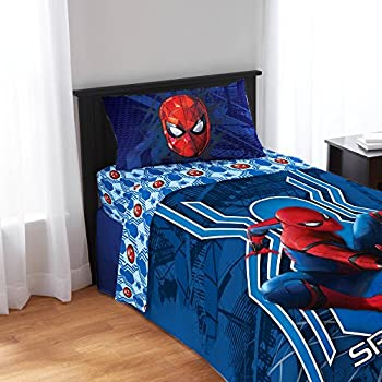 spiderman spiderman homecoming twin bedding sheet set 3pc sticker sheet - Twin Bed Sheets