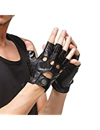Nappaglo Men's Leather Driving Gloves Italian Lambskin Half Finger Fingerless Unlined Gloves for Motorcycle Cycling Riding