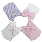 Baby Hospital Hat Newborn Hats Infant Hat Girl Nursery Beanie Sparkle Gem with Bow Cap 4pcs