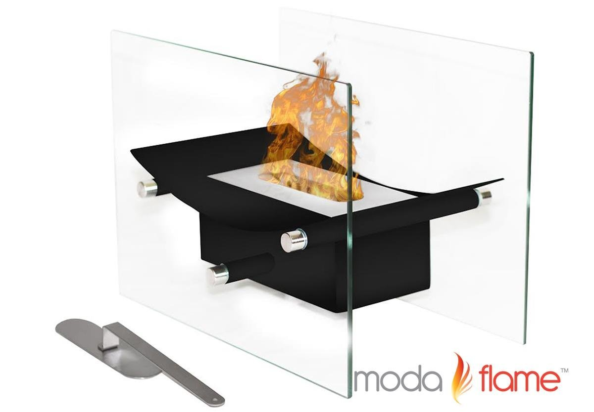 Regal Flame Cavo Table Top Ventless Bio Ethanol Fireplace in Black by Moda Flame