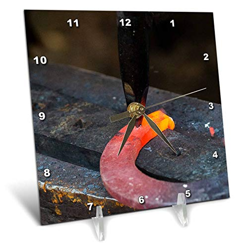 3dRose Alexis Photography - Objects Smithcraft - Making a Horse Shoe. Red hot Metal on Anvil, Black Hummer at Work - 6x6 Desk Clock (dc_309150_1)