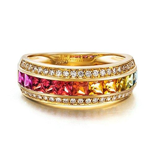 AnazoZ 18K(Au750) Gold 1.339ct Gemstone Wedding Bands for Women Princess Cut Size 6.5 by AnaZoz