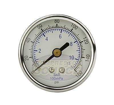 "1/4"" NPT 0-160 PSI Back Mount Air Compressor Air Pressure Gauge"