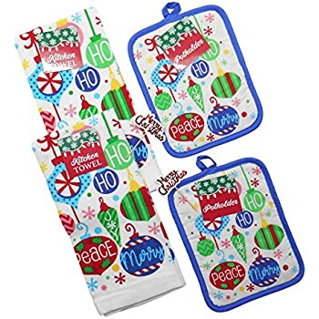 Christmas Kitchen Dish Towel and Pot Holder Set Includes 2 Kitchen Towels and 2 Pot Holder and 2