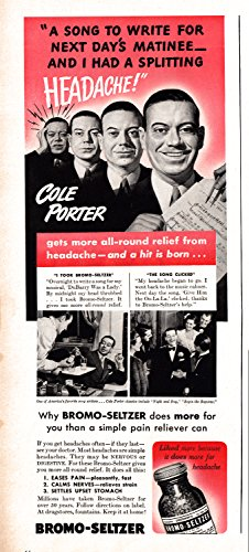 1940 Cole Porter-Famous Song-Writer Bromo-Seltzer-Original 13.5 * 5 Magazine - Magazine Songwriter