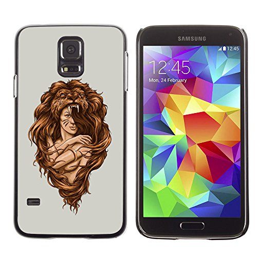 amsung Galaxy S5 amazon woman warrior lion wild nature art / Slim Black Plastic Case Cover Shell Armor
