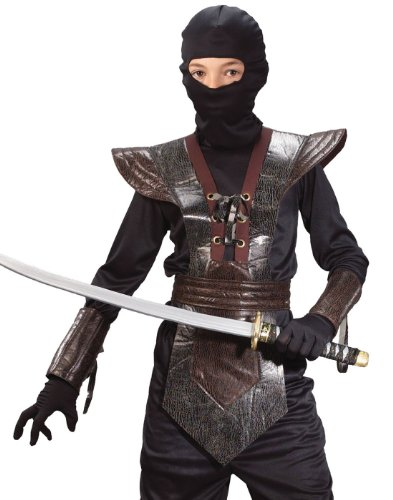 (Child Leather Ninja Fighter Costume (Large, Brown))