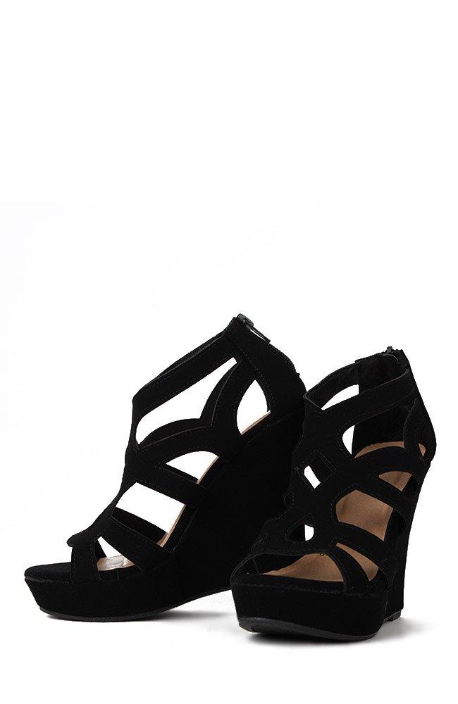 Top Moda Womens Ella-15 Fashion Wedge Sandals, Black 9 by Top Moda (Image #4)