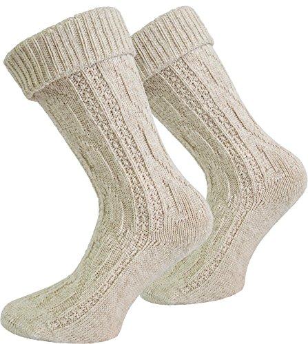 Trachten Umschlag Socken im Landhaus-Stil mit aufwändiger Applikation Farbe Naturmelange Größe 43/46