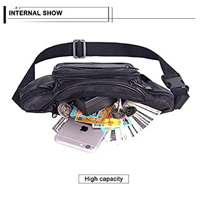 ForShop Fashion Men Genuine Leather Waist Bag Multi-Pocket and Multiple Zipper Belt Bag Adjustable Belt Fanny Pack Shopping Phone Bags