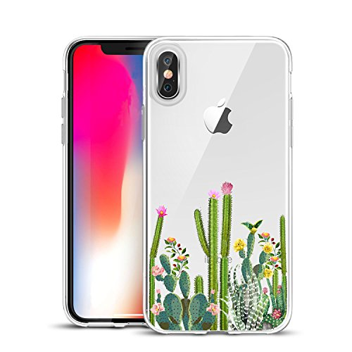 Unov Case Clear with Design Slim Protective Soft TPU Bumper Embossed Pattern [Support Wireless Charging] Cover for iPhone Xs Max 6.5 Inch(Cactus Succulents)