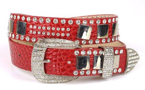 Women's Faux Patent Leather Crocodile Design Belt w/ Rhinestones DM300, Red, XL (Faux Crocodile Belt)