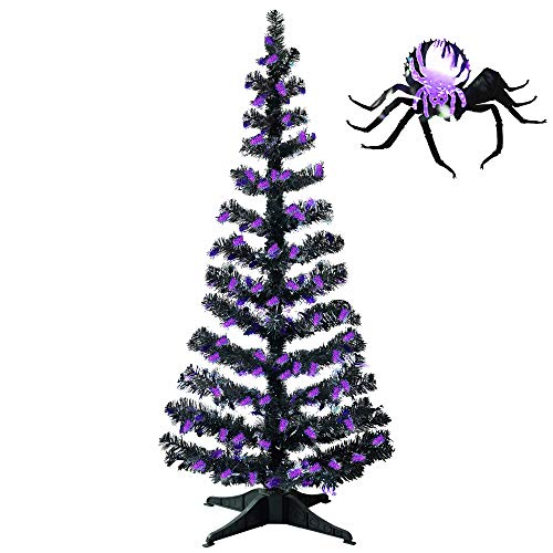 YuQi 5FT Artificial Halloween Tinsel Trees,Collapsible and Reusable Xmas Tree,Plump Spider Sequin Bling Pop Up Christmas Tree with Outdoor or Indoor for Christmas Home Decoration(Spider)