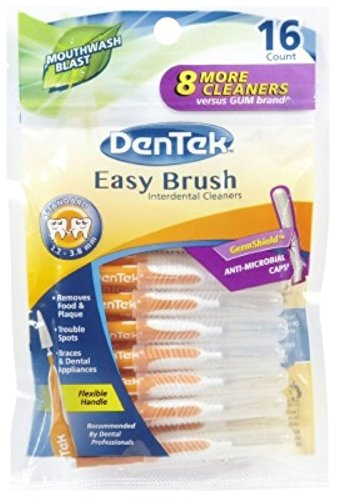 Dentek Easy Brush Cleaners Standard Spaces 16 Count (3 Pack) (Dentek Brush Cleaners Easy)