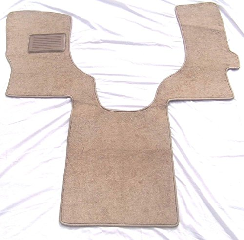 FORD Econoline Floor Mat Carpet Custom Fit Replacements 1 pc front With Serged Edging and Driver Side Heel Pad Beige Fits 1997-2005 Avery's Floor Mat ()