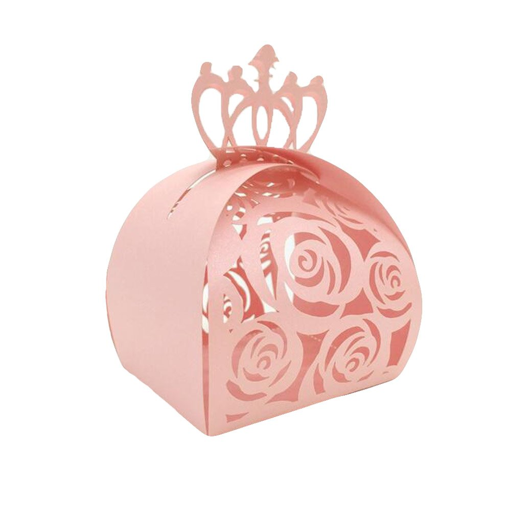 Amazon.com: WOMHOPE® 50 Pcs - Crown Lock Rose Candy Box Hollow Laser ...