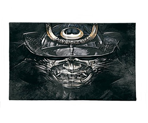Interestlee Fleece Throw Blanket Japanese Decor Collection Fearful War Mask Facial Armour of Samurai Asian Medieval Culture Horror Spooky Theme Black Grey - Asian Horror Costume